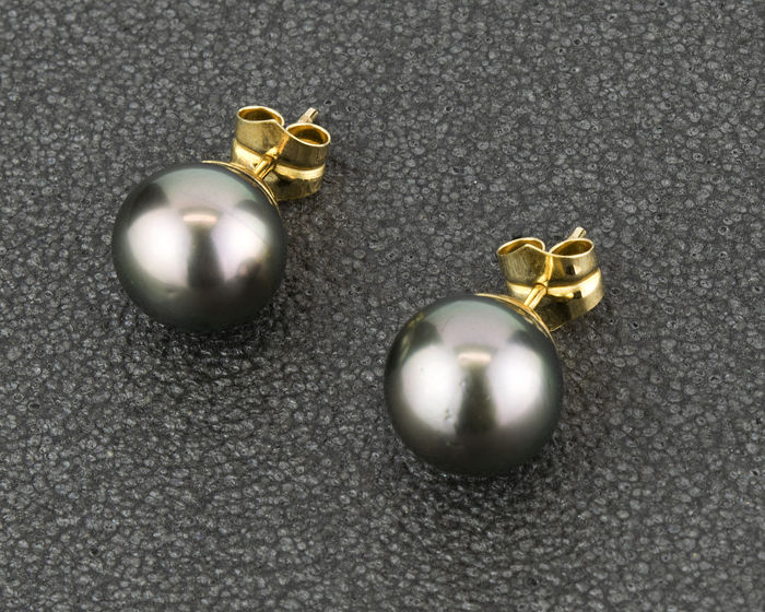 Yellow gold 18 kt/750 - Earrings - Tahitian pearls measuring 10.05 mm