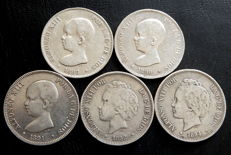 Spain – 5 pesetas, 1888–1894 – Alfonso XIII – 5x coins – all different – silver