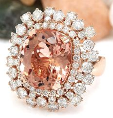 No Reserve-Axclusive-13.95carat Natural Morganite And Diamond Ring In 14K Rose Gold-Free shipping !!! - Ring Size: 54 :	17 1/2 : O : 7