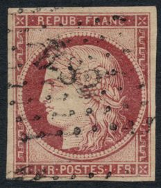France 1849 - crimson Cérès, Cancelled Paris DS2 - signed CALVES and BAUDOT - Yvert no. 6.