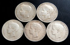 Spain – 5 pesetas, 1898 – Alfonso XIII – 5x coins – silver