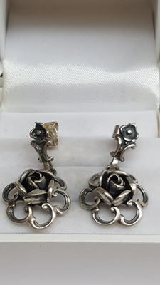 925 silver, vintage rose earrings. No reserve!