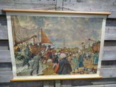 Beautiful roll-up linen school poster: The landing of William I in Scheveningen
