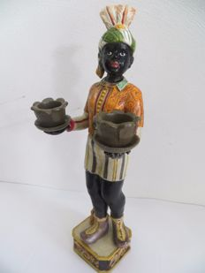 Hand-painted blackamoor candlestick