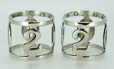 "Vintage pair of silver plate napkin rings, with ""2000"" Initials"