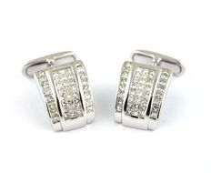 Men's Luxury Cuff-links with (88) Diamonds (Total +/-5.70ct FG/VS2-SI1) set on White 18k Gold -(Size 20mm x 15mm)-