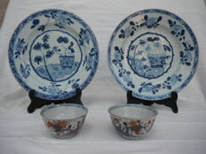2 Imari bowls, 2 blue white under glaze plates - China - 18th century