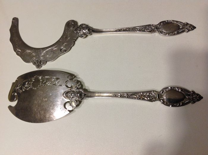 Henri Soufflot, 950/000 silver pair of serving tools ca 1890, France