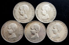 Spain – 5 pesetas, 1891 – Alfonso XIII – 5x coins – silver