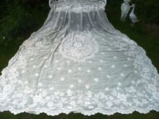 Handcrafted Embroidered Sheer Light Baist Big Sized Panel/Bedspread, French ca. 1850s