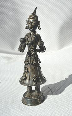 Silver musician, female dancer - India - 1st half of 20th century