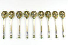 Nine antique sterling silver Russian spoons & cloisonné enamel, 1908-1917