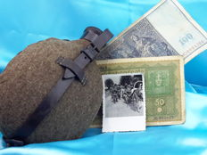 World War II - German canteen from 1937, and old banknotes from Germany and original photo