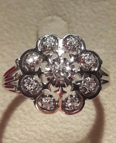 Entourage ring with diamonds, 0.54 ct, 1960s