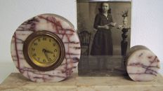 Table clock on marble with photo frame