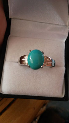 Very Rare, Mens 3.33ct Genuine Sleeping Beauty Turquoise ring
