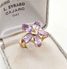 """Huge gold """"star"""" ring set with 2.5ct marquise cut rose de France amethyst- NO Reserve"""