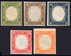 Kingdom of Italy – 1861 – Naples – Non issued complete series 5 v.