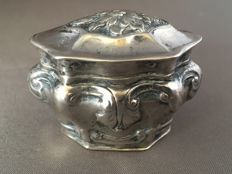 Silver scent box with engravings