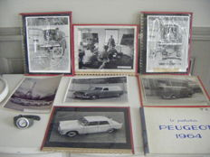 Peugeot lot - Brochure production 1964, 10 original photos, 50s & a 206 recent chronograph Watch