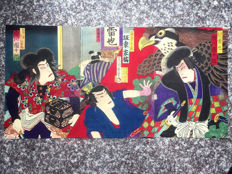 Ukiyo-e woodblock print of it portrays Ichikawa Danjuro, the most famous kabuki actor of all times, by Utagawa (Morikawa) Chikashige 守川周重 (active ca. 1869–82) - Japan - 1882