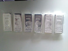 New Heraeus ingots 6 pieces of 1000 grams (1 kg) - 6 kg in total