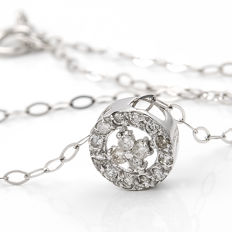 18 kt (750/1000) white gold - 16 diamonds totalling 0.20 ct - maximum height of the pendant:.  6.65 mm (approx.)