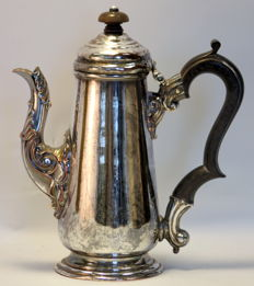 Antique silver plate tea pot with wooden handle and decorative engravings, ca.1920