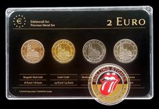 Germany - 2 Euro 2011 'Precious Metals' (4 different coins) plated + token 'Rolling Stones'