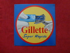 Vintage sheet metal advertising plate Gillette Razor Blades 1956.