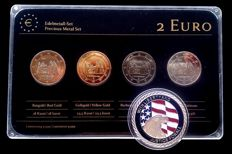 "Germany – 2 Euro coins 2014 ""Precious Metals"" (4 different ones), plated + a medal ""11 September 2001""."
