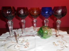6 Liqueur glasses cut colored cristal Italy
