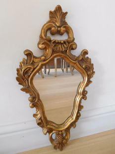 Gilded wooden antique crest mirror - France