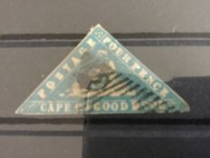 Cape of Good Hope - 4 penny, woodblock blue