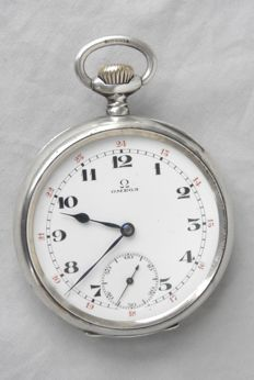OMEGA silver men's pocket watch from 1916