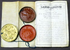 Charter of the Order of St. Maurice and St. Lazarus with signature of Charles Albert of Savoy, King of Sardinia - 1836