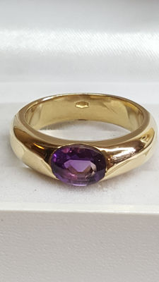 18 kt yellow gold solid women's ring set with an amethyst - ring size 17.75