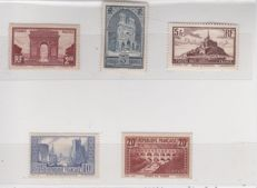 France 1929/1931 – Selection of stamps, including signed Calves ones with digital certificate – Yvert no. 258 to 262