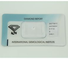 0.17 ct brilliant cut diamond, E, VVS1