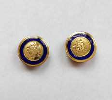 Pair of 18 kt gold cuff/collar knots, France 19th century