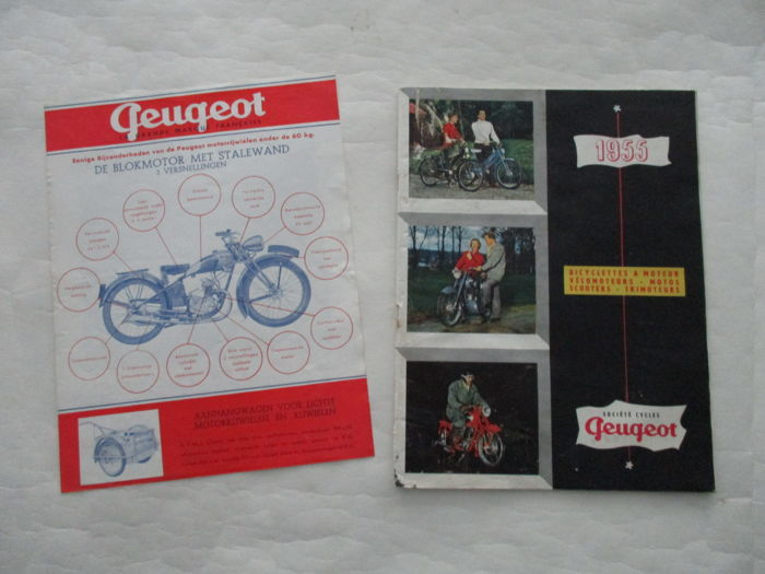 Peugeot - Original set of 2 old leaflets Peugeot motorcycles - 1939/1955