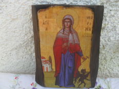 Icon - Saint Marina - handmade-olive tree wood-gold leaf - Greece 20th century