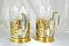 Two silver glass holders, gilded and Niello, Russia, 20th century