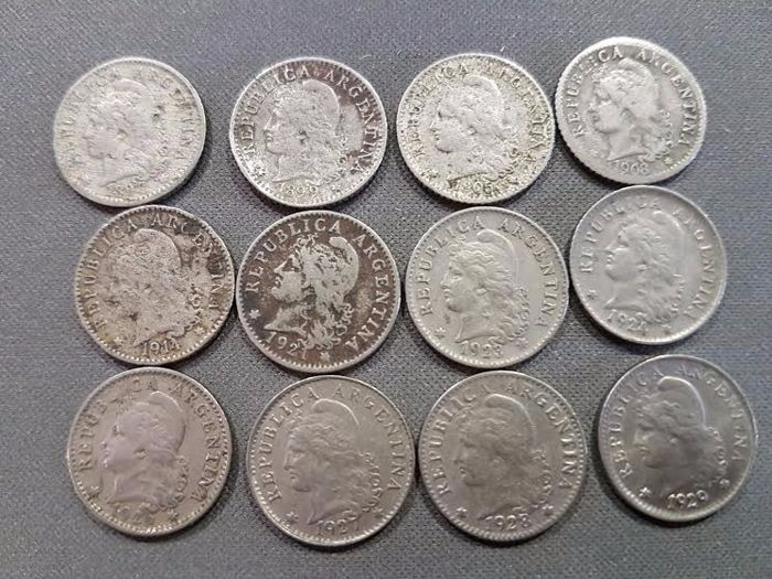 Argentina Lot Of 12 Coins 5 Cents Including 1897 99