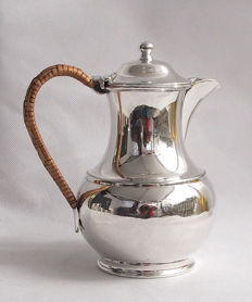 Antique Coffee Pot With Rattan Handle - Frank Cobb & Co Sheffield England - Late 19th Century