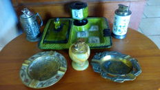 Lot - 3 lighters of table porcelain Chanill & onyx & metal + 1 ceramic smoker tray + 2 brass ashtrays