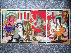 Woodblock print triptych by Utagawa Kunisada III (1848 - 1920) - Ichikawa Danjuro as Fudo Myo with other Kabuki actors - Japan - ca. 1890