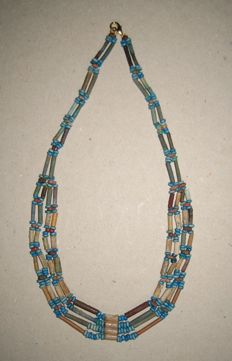 Old Egyptian necklace of faience beads. L 42cm