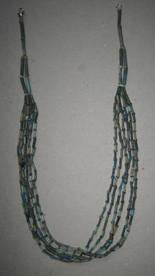 Six string necklace of old Egyptian faience beads - 49cm