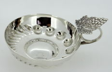 Antique silver plate dish with leaf handle, A. EDWARD JONES, Birmingham ca.1930